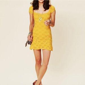 Free people mustard yellow daisy godet lace dress